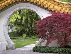 Doorway in Chinese garden in Zurich, Switzerland in summer
