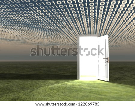 Doorway in landscape with binary streaming