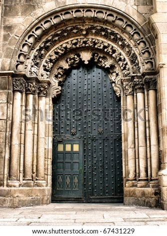 Doorway of Ourense cathedral, north of Spain
