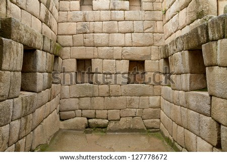 Doorway of the Inca temple at the lost city of Machu Picchu, Peru