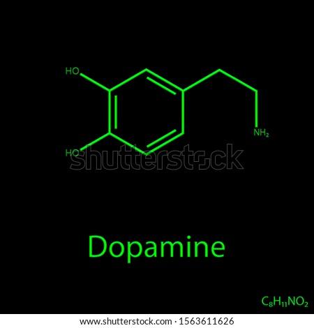 Dopamine Molecular Formula , Dopamine Molecular Draw , İllustracion of Hormons and Neurotransmitters