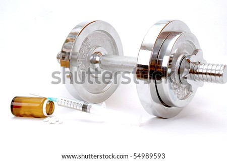 doping in sports weights isolated on a white background , sport concept , doping in sport