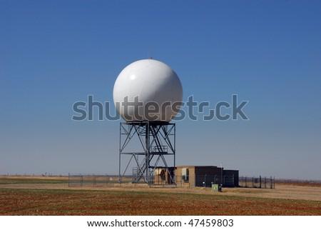 Doppler radar dome on prairie