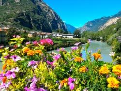 Dora Baltea river, village of Bard, south-east of the Aosta Valley region, Italy