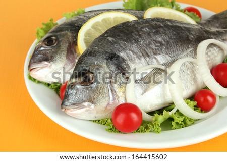 Dorado fish on table close-up