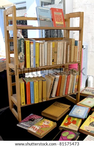 DORDRECHT, NETHERLANDS - JULY 3: A display in the market on a book shelf Sunday July 3, 2011 in Dordrecht. 16th Dordtse book market with 300 booksellers and 600 stalls has yearly 75000 visitors.
