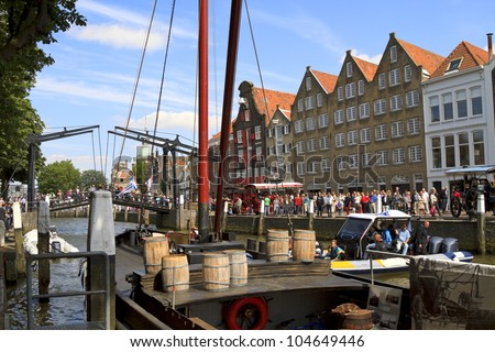 DORDRECHT, NETHERLANDS - JUNE 2 2012: Dordrecht in Steam, the largest steam power event in Europe. Steam festivities on Wolwevershaven harbor on Saturday 2 June 2012 in Dordrecht.