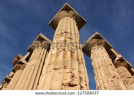 Doric columns in Selinunte, Sicily, Italy.
