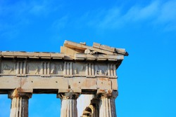 Doric Order Column and Metope,  Horse, Pediment of Parthenon, In Athens, Greece