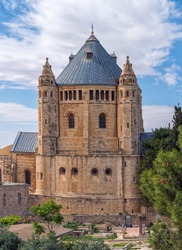 Dormition Abbey (Location of Last Supper) Dormition Abbey. Ancient buildings outside the walls of Jerusalem's Old City, Israel. Vertical photo