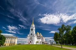 Dormition Cathedral (Assumption Cathedral) and Bell tower in Vladimir, Russia. Golden Ring of Russia. It is part of the UNESCO World Heritage Site entitled White Monuments of Vladimir and Suzdal.