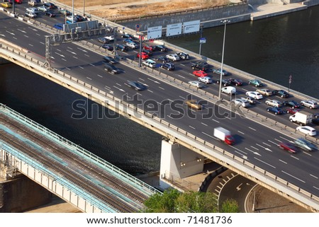 Dorogomilovskiy bridge on third transport ring and railroad bridge in Moscow, Russia - stock photo