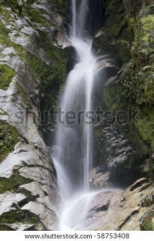 Dorothy Falls, Lake Kaniere, South Island, New Zealand.