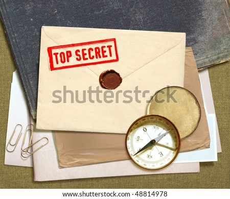 dorsal view of military top secret documents with stamp