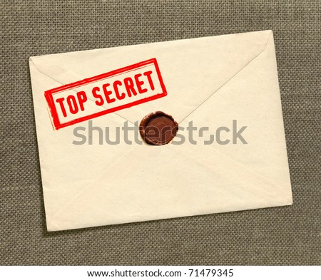 dorsal view of military top secret envelope with stamp