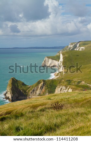 Dorset coastline and cliffs looking towards Durdle Door, the route of the South-West coastal path.