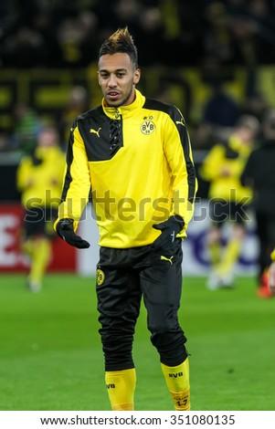 Dortmund, Germany- December 10, 2015: Pierre Emerick Aubameyang before the beginning the UEFA Europa League match between PAOK vs Borussia Dortmund played at BVB Stadium