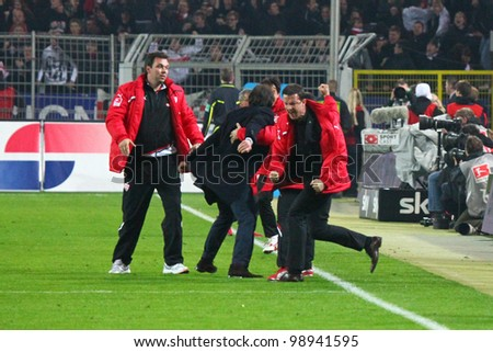 DORTMUND, GERMANY- MARCH 30: VfBs Fedi Bobic cheering after the 4-4 during a Bundesliga match between BVB Borussia Dortmund & VfB Stuttgart, final score 4 - 4, on March 30, 2012, in Dortmund, Germany.