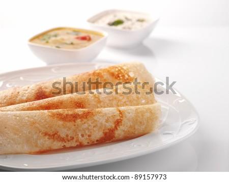 dosa Sambar with Coconut Chutney, Indian Food