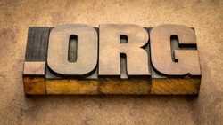 dot org internet domain for a nonprofit organization - text in vintage letterpress wood type blocks