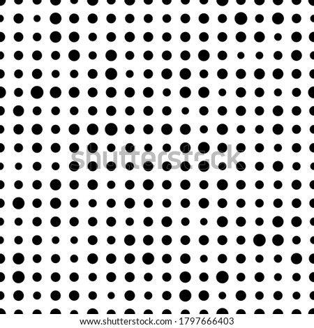 Dot polka. Random circle seamless pattern. Irregular polkadots. Black and white polka dots. Simple background with big and small dot. Dotted backdrop. Circles texture. Design prints. Illustrator stock photo
