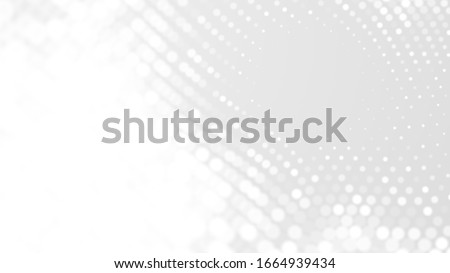 Dot white gray wave light technology texture background. Abstract big data digital concept. 3d rendering. stock photo
