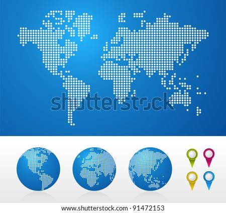 Dot World maps and globes business background.
