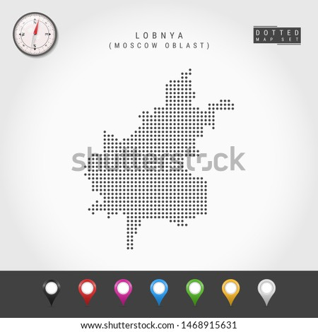 Dots Map of Lobnya, Moscow Oblast. Simple Silhouette of Lobnya. Compass. Multicolored Map Markers. Illustration. Сток-фото ©