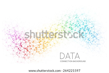 Dots with connections, triangles light background