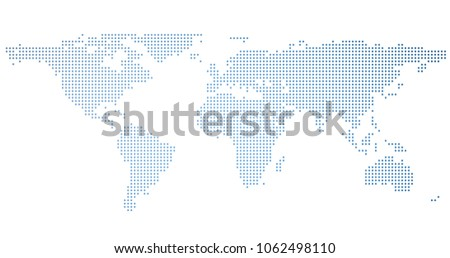 Dotted illustration of world map with blue gradient. #1062498110