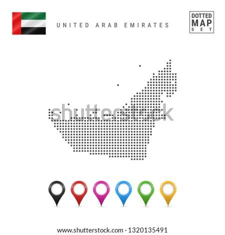 Dotted Map of United Arab Emirates. Simple Silhouette of United Arab Emirates. National Flag of United Arab Emirates. Set of Multicolored Map Markers. Illustration Isolated on White Background.