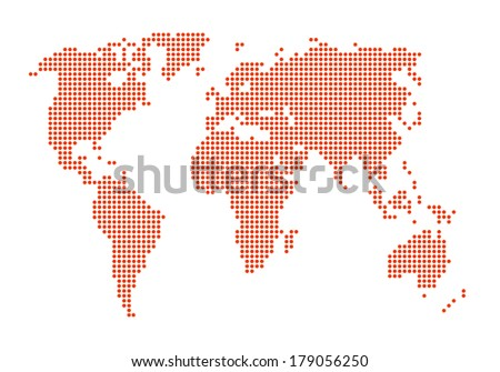 dotted orange color world map on isolated background