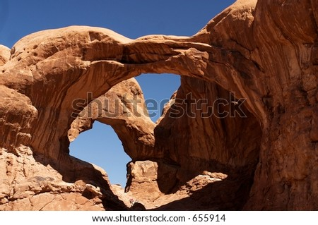 Double Arch, Arches National Park - stock photo
