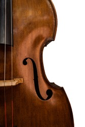 Double Bass close up, on white background, Contrabass, String Instument
