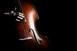 Double bass. Hands playing contrabass player musical instrument. Strings cello
