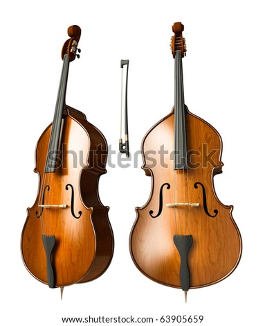 Double bass isolated on white