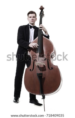Double bass player contrabass playing. Classic musician Jazz bass isolated on white