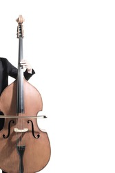 Double bass player. Hands playing contrabass String musical instrument