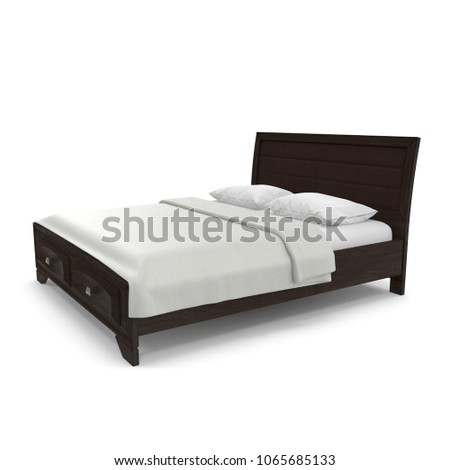 Double bed isolated over white. 3D illustration #1065685133