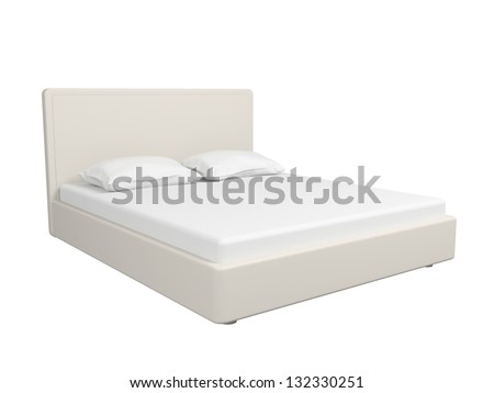 Double bed with a sheet and pillows. Isolated on a white background.