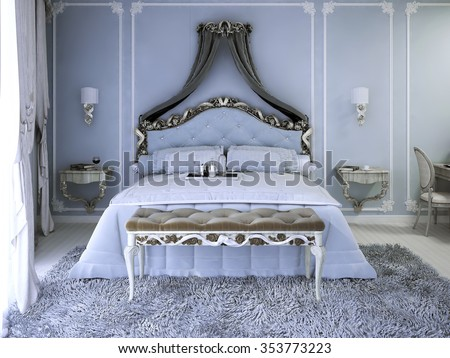 Double bed with curtain in luxury royal view bedroom with pale blue walls. Tick pile grey carpet and upholstery bench with white wood carcas. 3D render