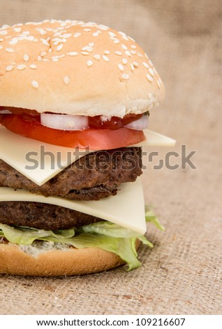 Double Burger on rustic background
