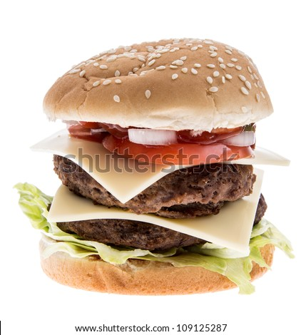 Double Burger with Cheese isolated on white