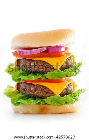 Double cheese burger isolated against a white background