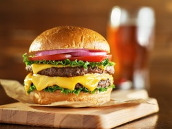 double cheese burger with beer