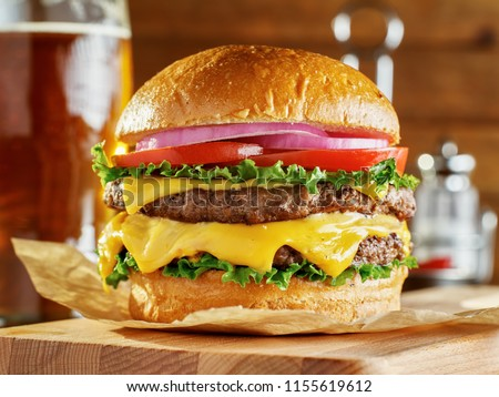double cheese burger with beer Stock photo ©