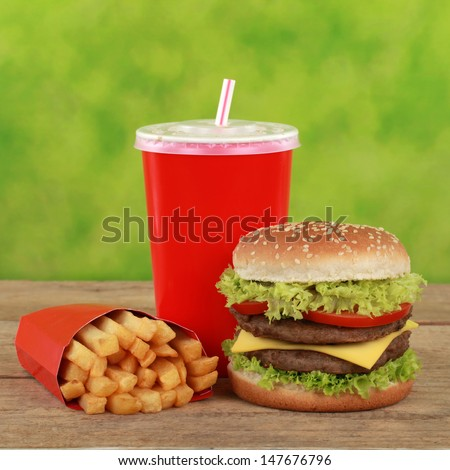 Double Cheeseburger combo meal with french fries and a cola drink