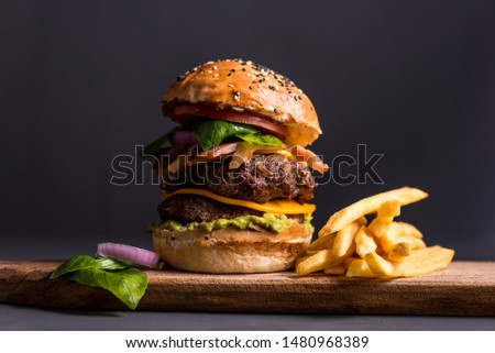 Double cheeseburger sandwich with fries Stock photo ©