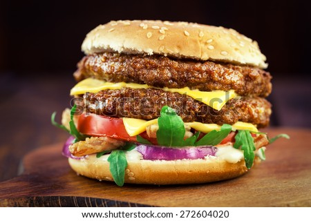 Double Cheeseburger with Tomato,Onion and Arugula
