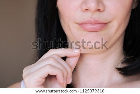 double chin. face line correction